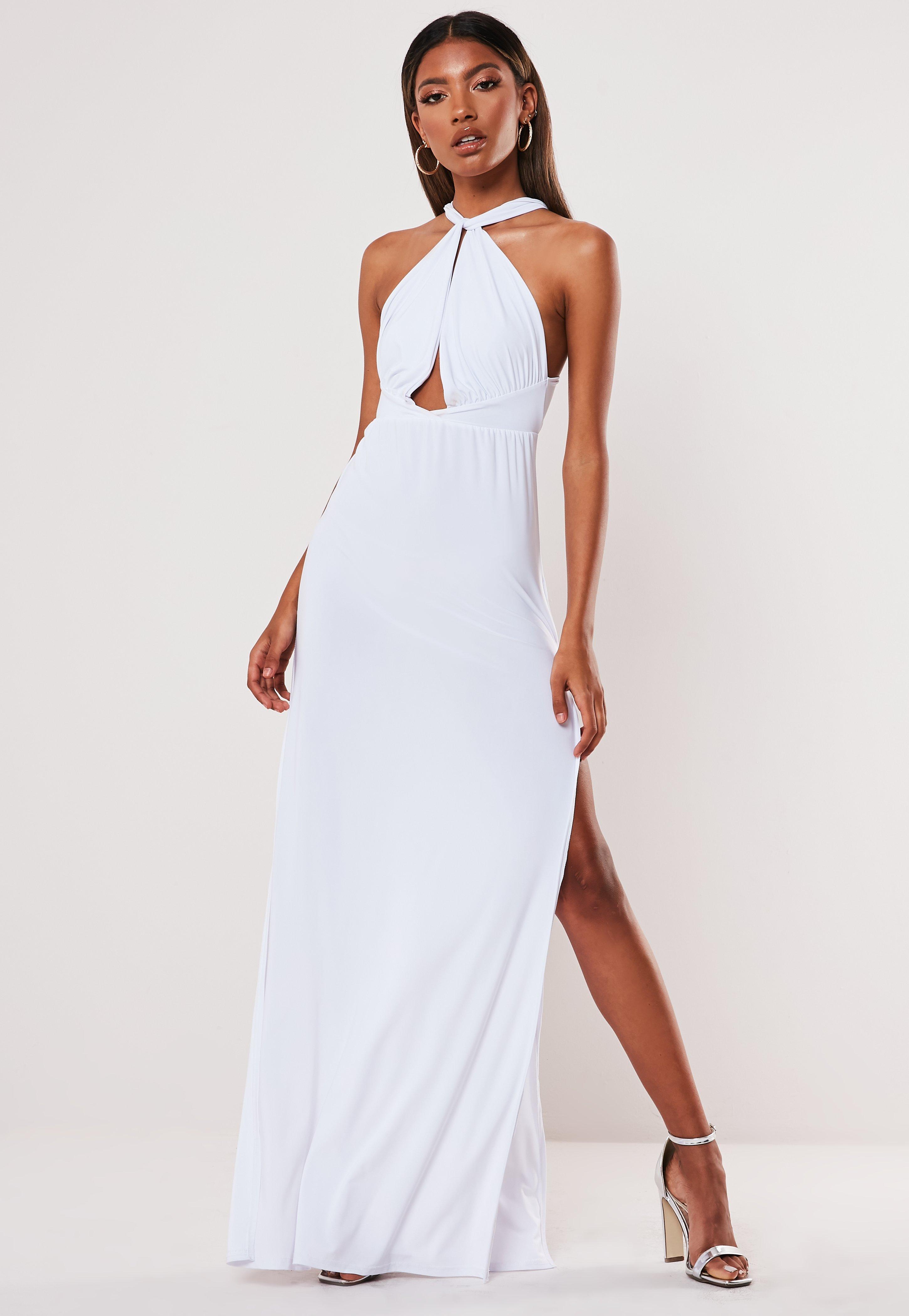 f10b011cc749d White Slinky Double Split Plunge Halterneck Maxi Dress
