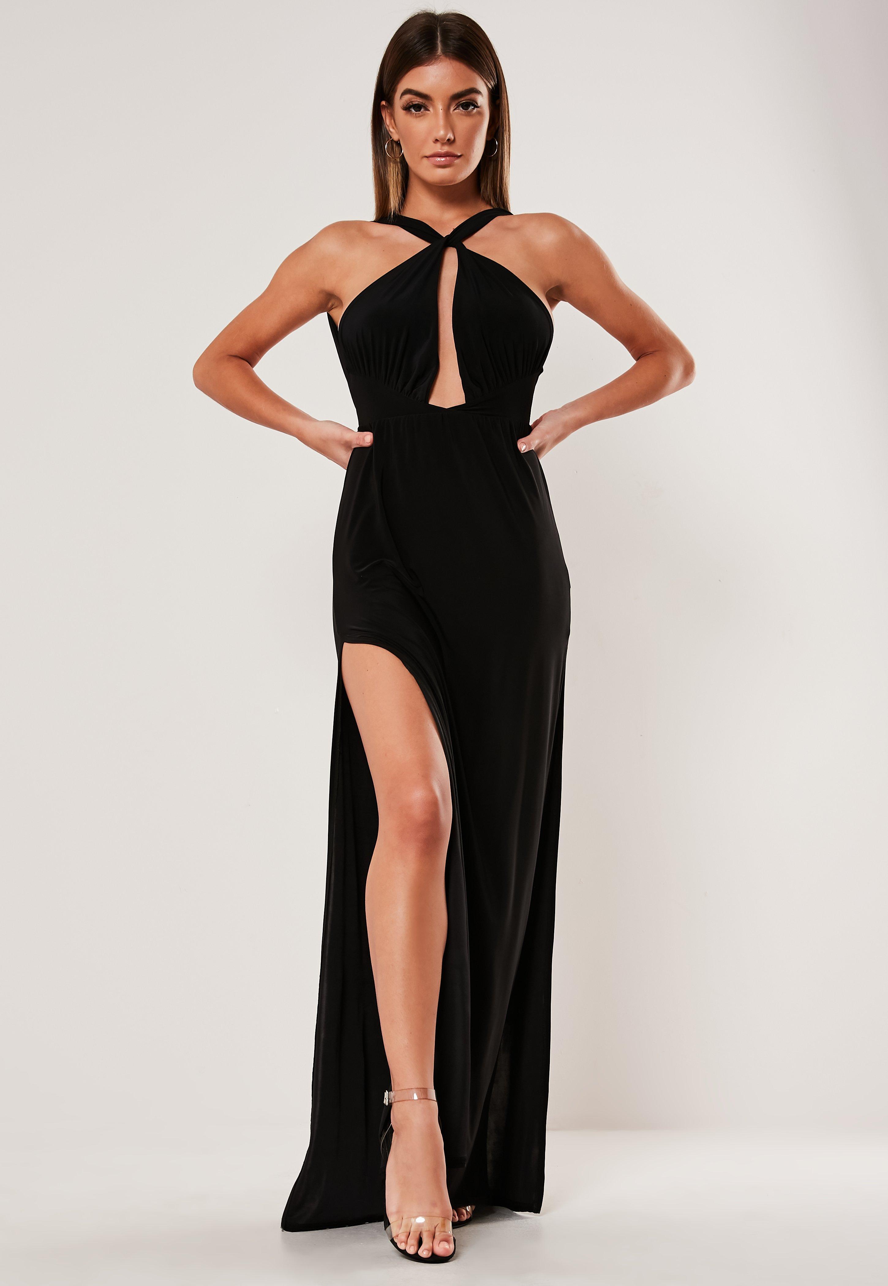 cb13a8e1ba709 Black Double Split Plunge Halterneck Maxi Dress