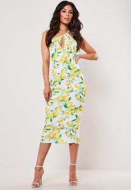 a2f7cceb63 Yellow Lemon Print Keyhole One Shoulder Midi Dress