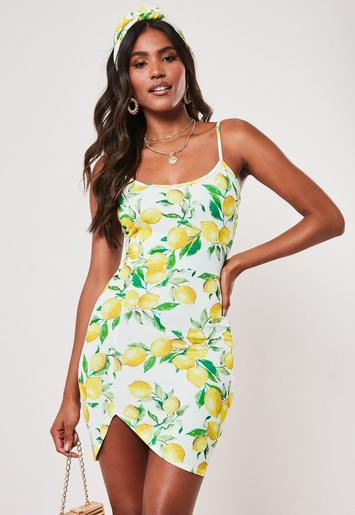 Yellow Lemon Print Asymmetric Hem Cami Mini Dress by Missguided