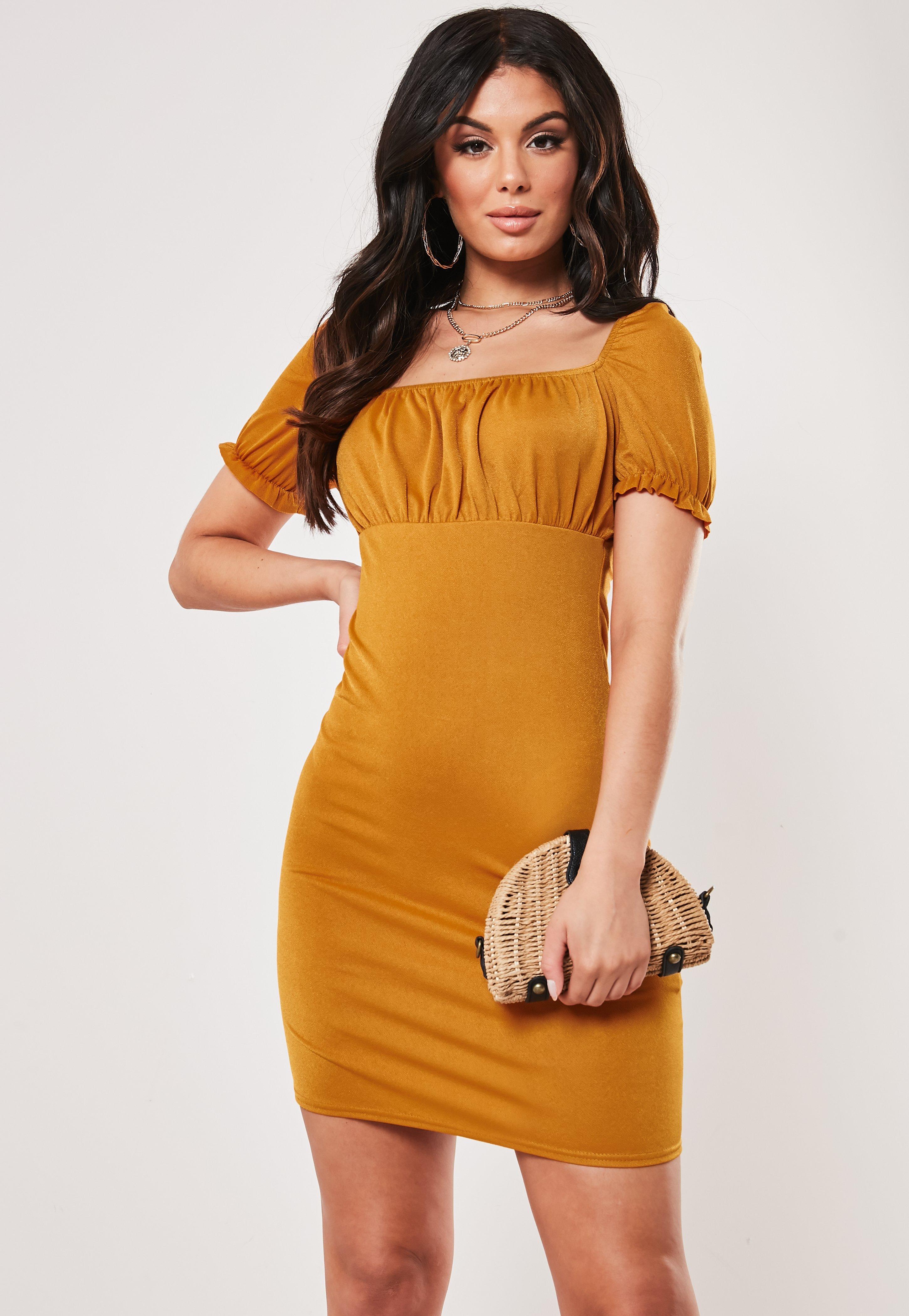 5810c98405164 Mustard Milkmaid Bodycon Mini Dress