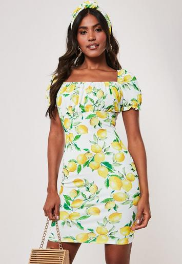 Yellow Lemon Print Milkmaid Bodycon Mini Dress