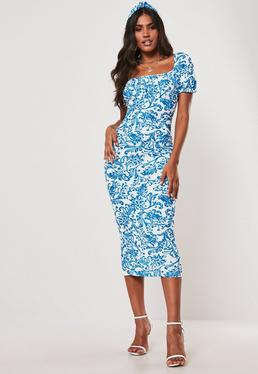 2beb805803 Blue Porcelain Print Milkmaid Bodycon Midi Dress