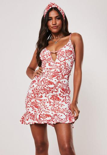 Red Porcelain Print Frill Hem Plunge Mini Dress by Missguided