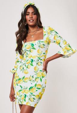 9e34b50f94 ... Yellow Lemon Print Frill Sleeve Square Neck Mini Dress