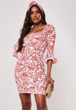 2402950ce4 Red Porcelain Print Frill Sleeve Square Neck Mini Dress