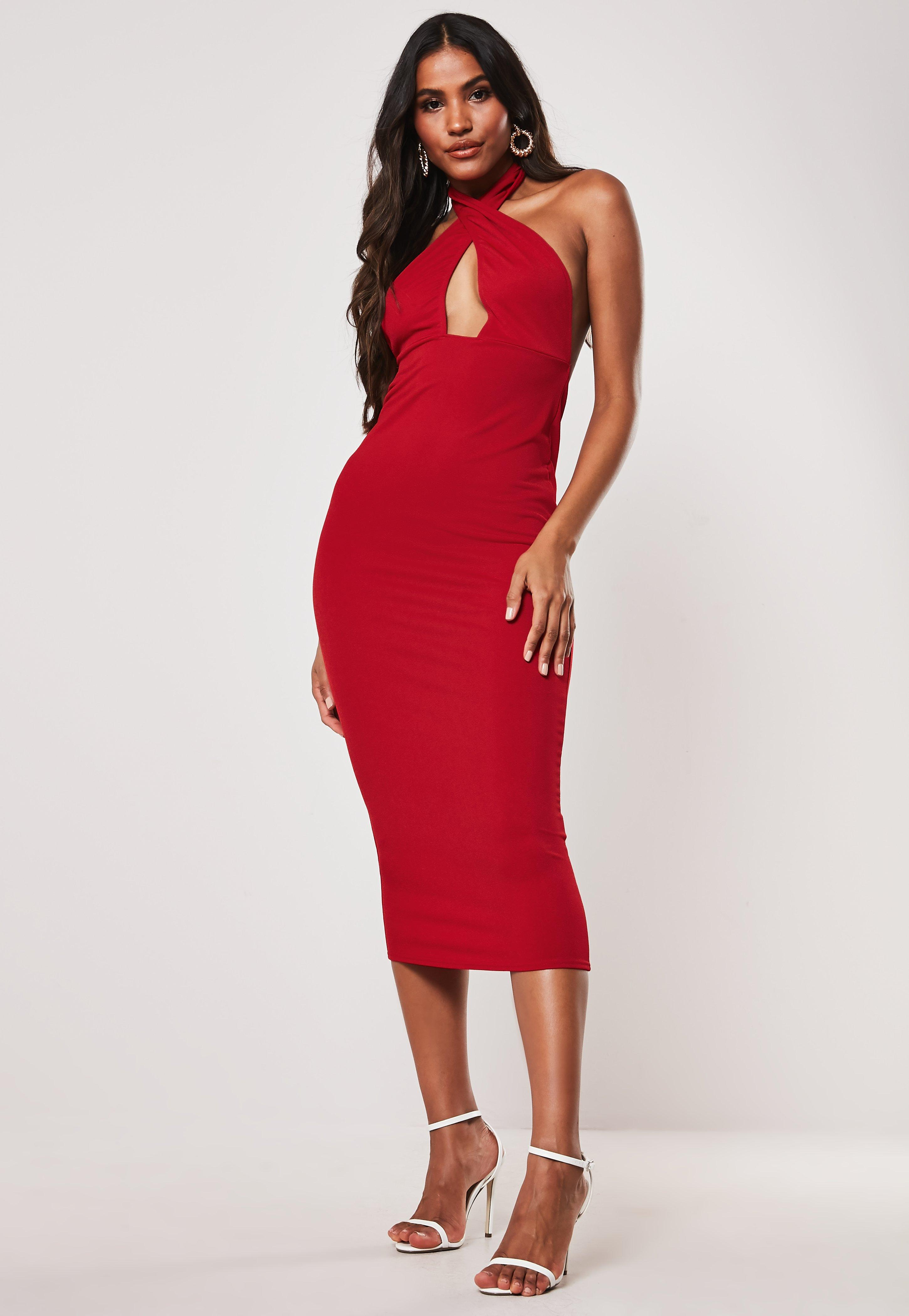 Red Crepe Halter Plunge Bodycon Maxi Dress by Missguided
