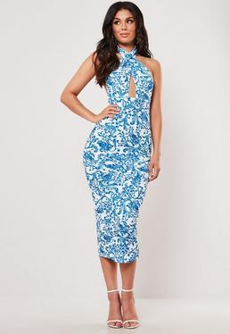 a3845f3f9b Blue Porcelain Print Cross Front Halterneck Midi Dress