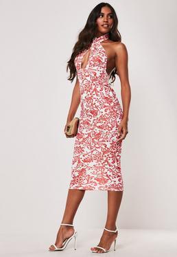 ad57c82ff7b8 Red Porcelain Print Cross Front Halterneck Midi Dress