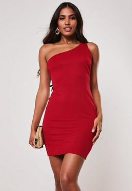 2a9b36f2190 Black Bardot Fishtail Bodycon Midi Dress · Red Double Strap One Shoulder  Mini Dress