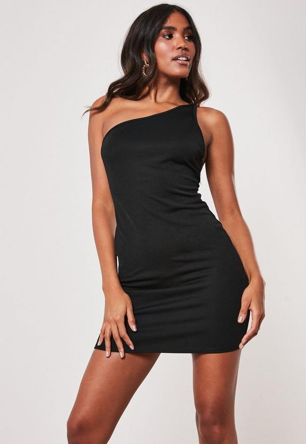 Black Double Strap One Shoulder Mini Dress Missguided