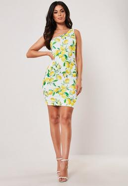 f96340d927 Yellow Lemon Print Double Strap One Shoulder Bodycon Dress