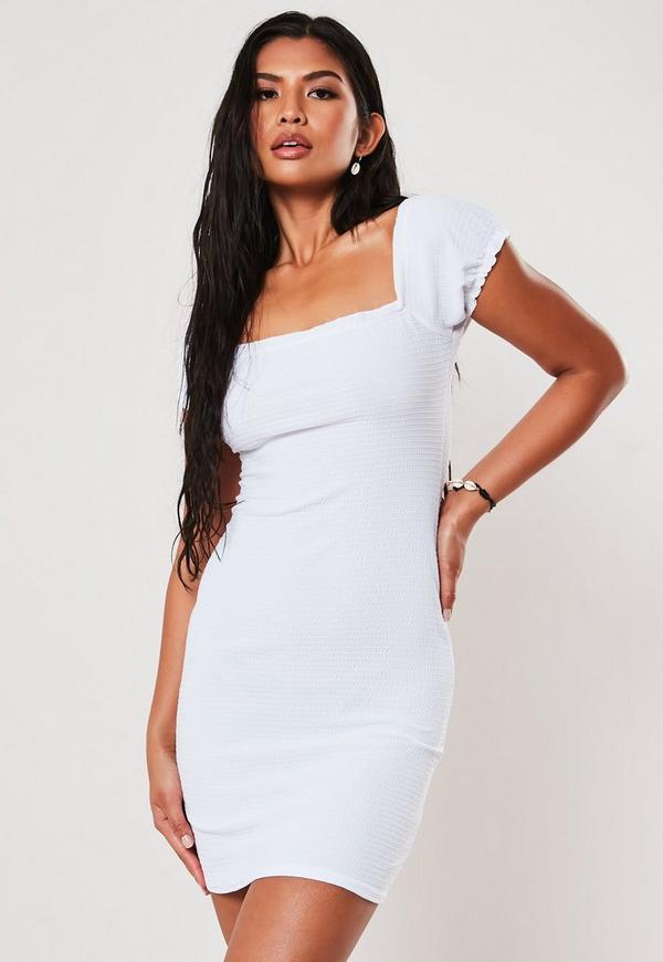 White Milkmaid Square Neck Shirred Bodycon Mini Dress