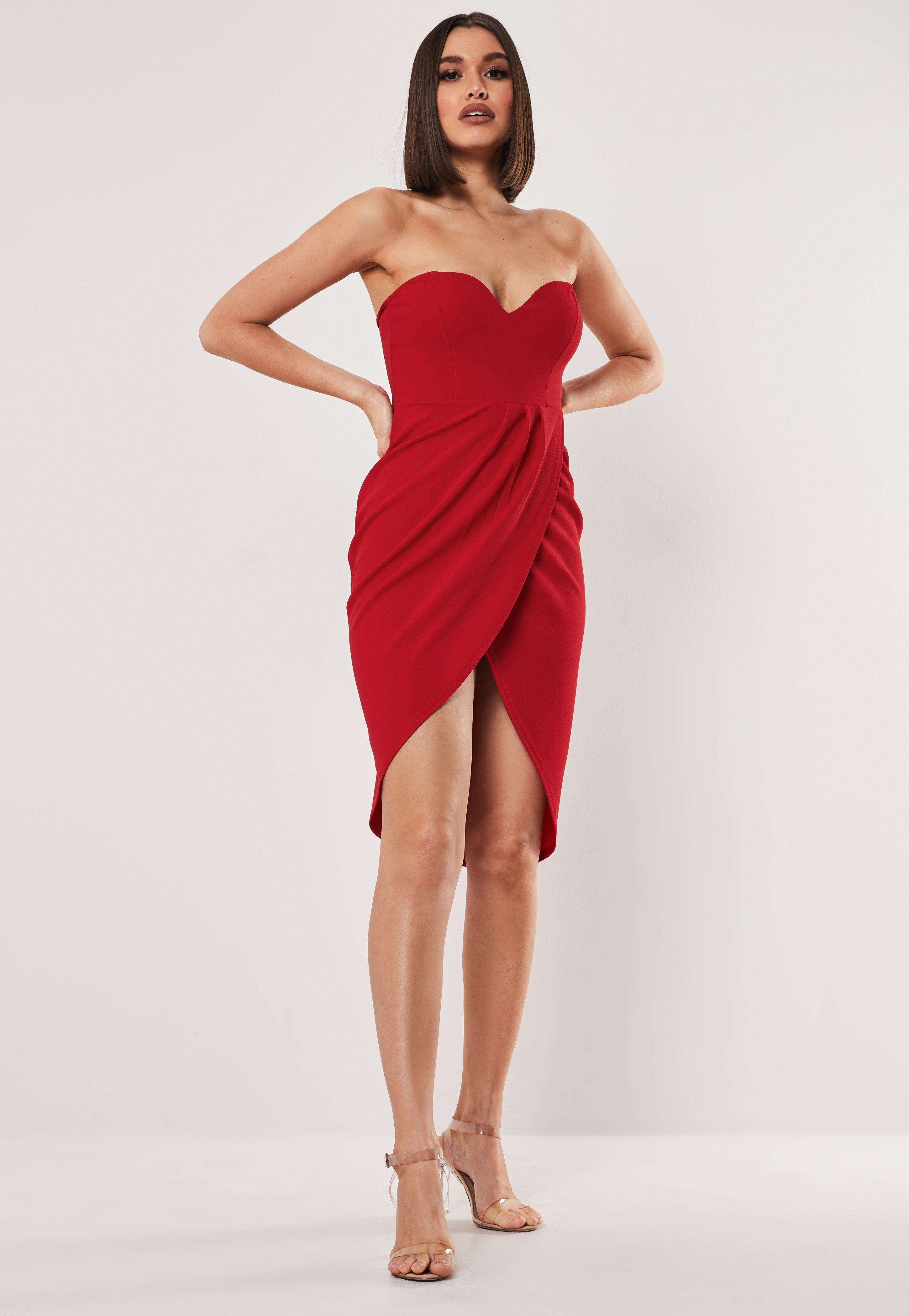 b053248ec11fa Red Bandeau Wrap Bodycon Midi Dress