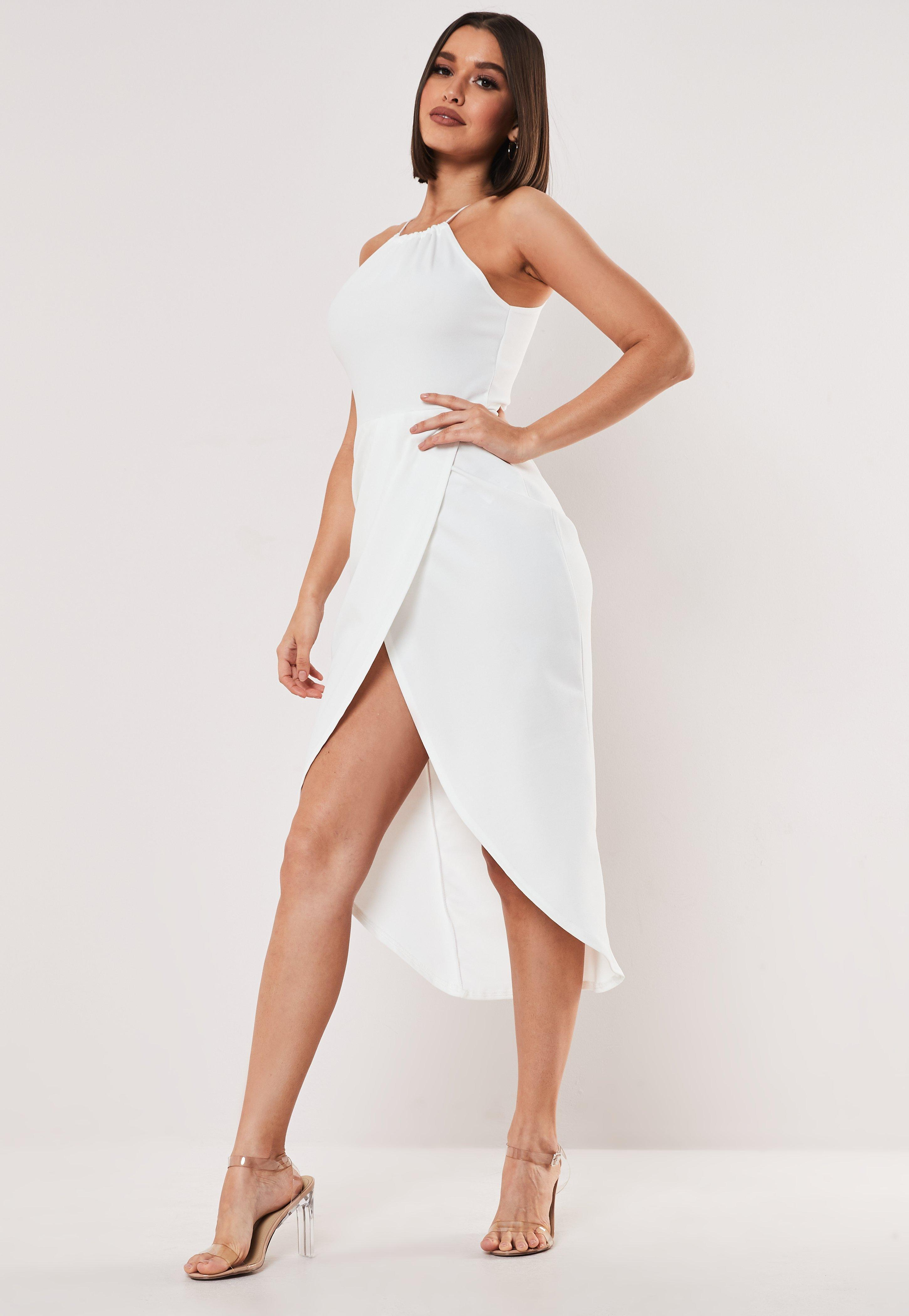 White Halterneck Wrap Bodycon Midi Dress by Missguided