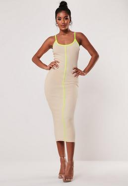 b2ec0be1a87d6 Stone Ribbed Contrast Piping Bodycon Midaxi Dress