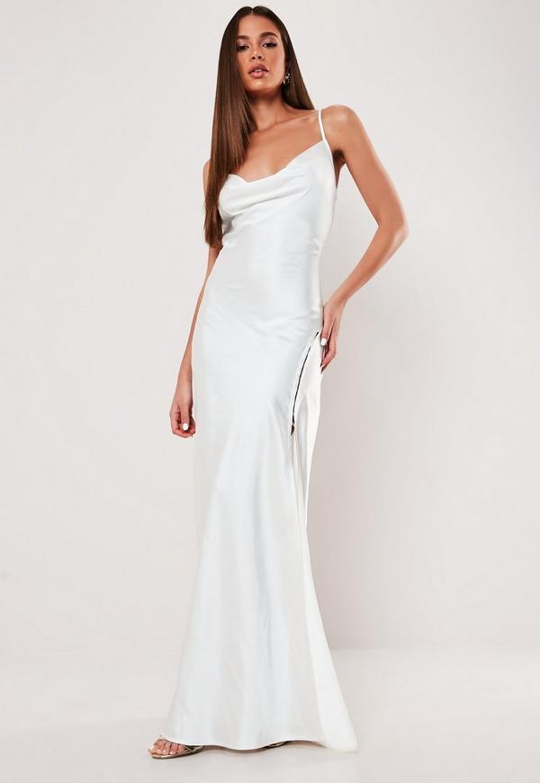 White Satin Cowl Extreme Split Maxi Dress Missguided