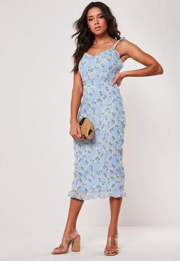 b9b221aafd90 Blue Midi Dresses | Women's Blue Midi Dresses Online - Missguided
