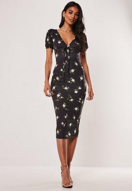 be741f0ba8e Black Floral Dip Hem Midi Dress · Black Floral Jersey Milkmaid Midi Dress