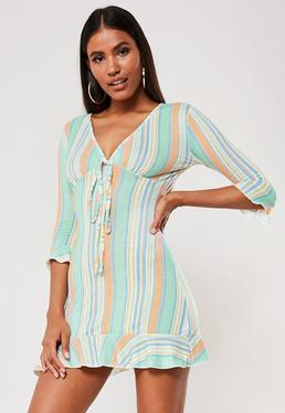 a733746dc White Polka Dot Print Frill Midi Tea Dress · Green Stripe Frill Jersey Tea  Dress