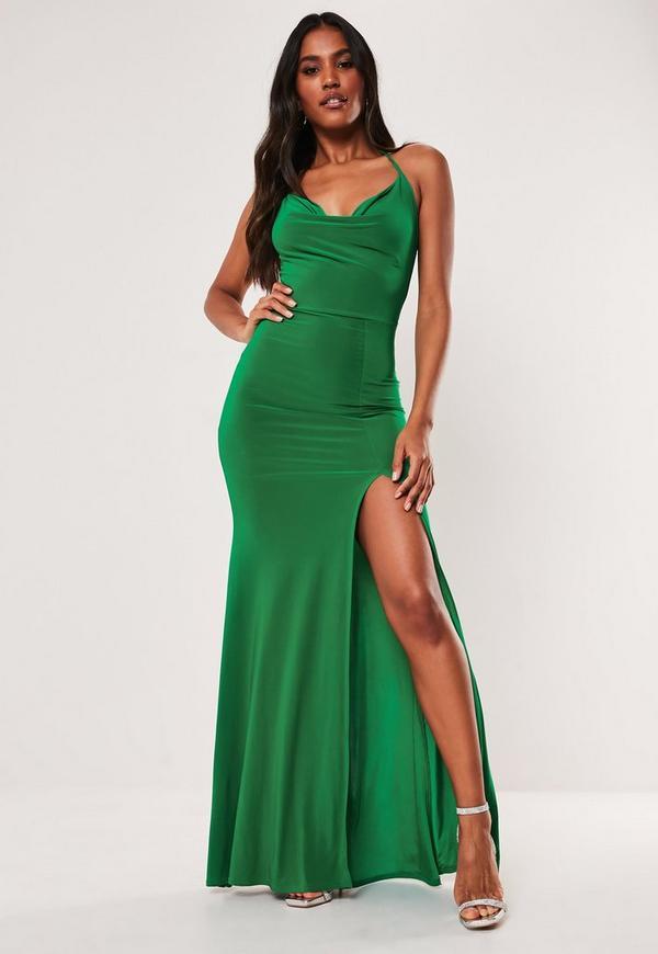 d7724c7176 Teal Satin Round Neck Backless Maxi Dress | Missguided Australia
