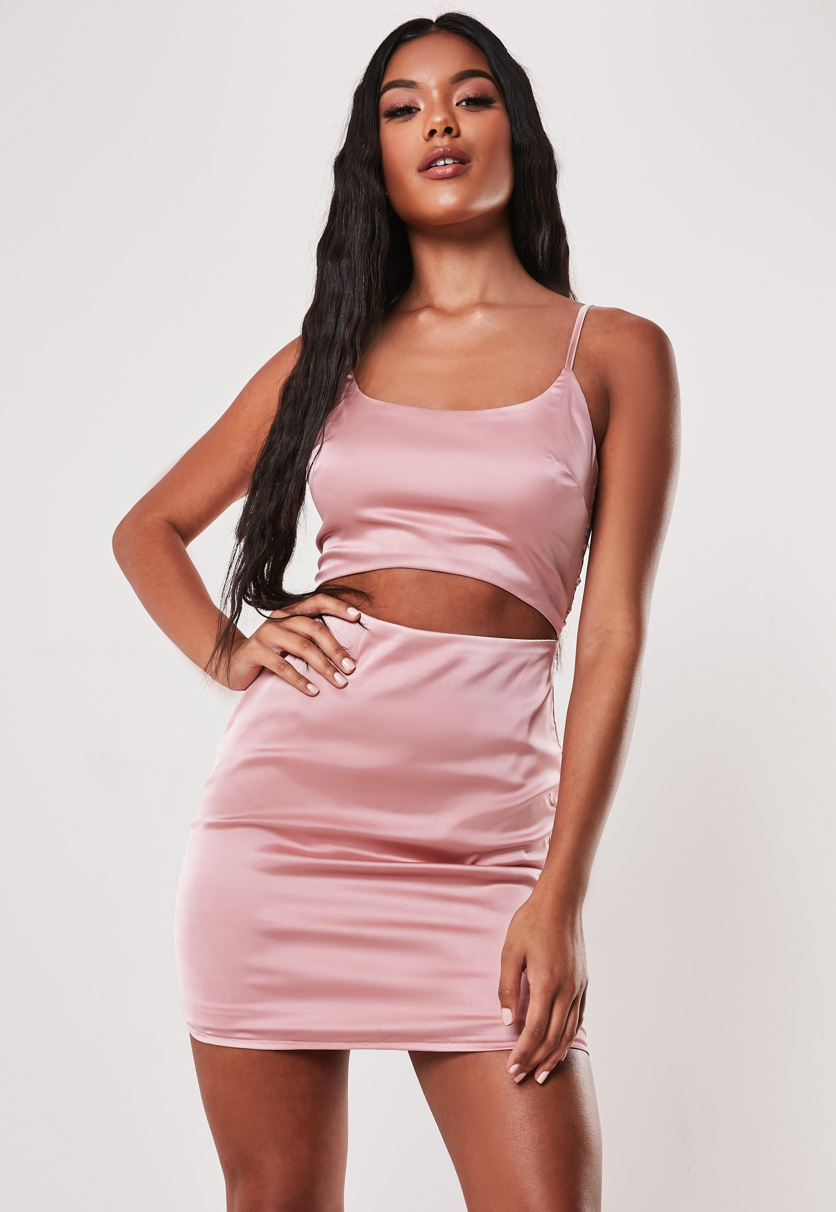 Pink Stretch Satin Cut Out Bodycon Mini Dress Missguided