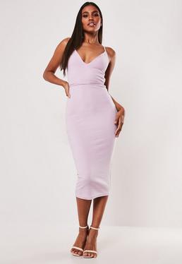 4b6ac814 Black One Shoulder Ruffle Midi Dress; Lilac Rib Multiway Strap Bodycon Midi  Dress