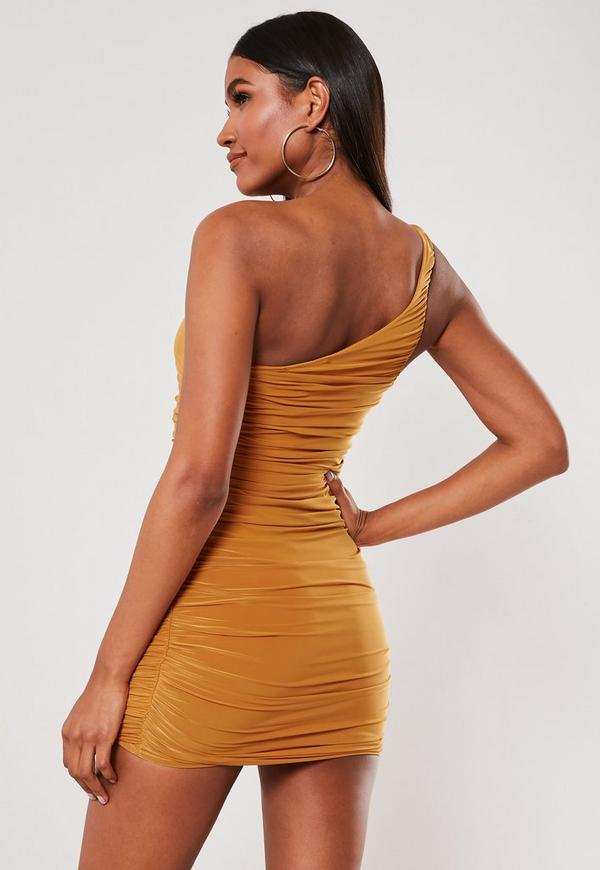 Nude Slinky One Shoulder Ruched Bodycon Mini Dress