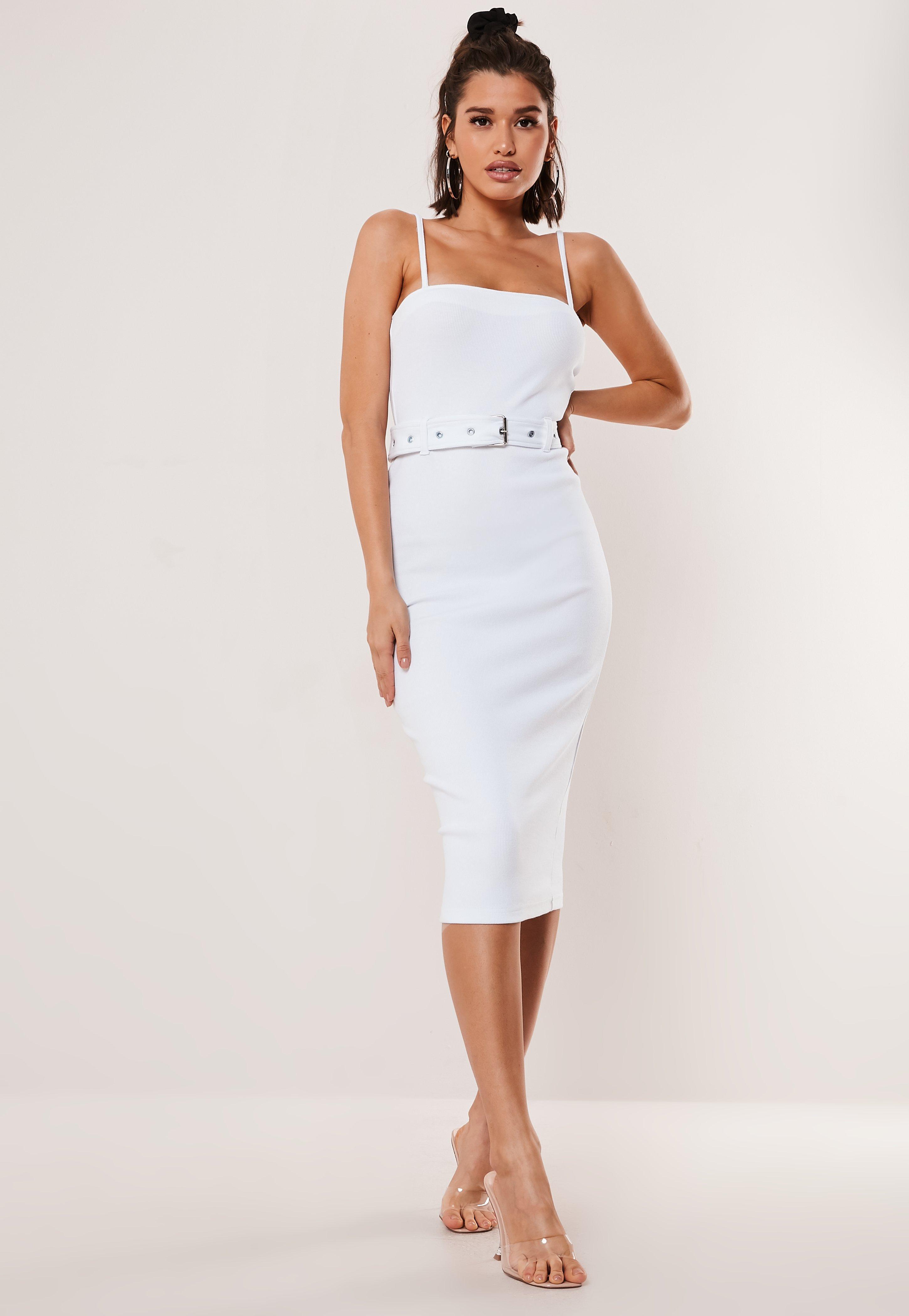 719dfd1f8be8c White Rib Belted Cami Bodycon Midi Dress
