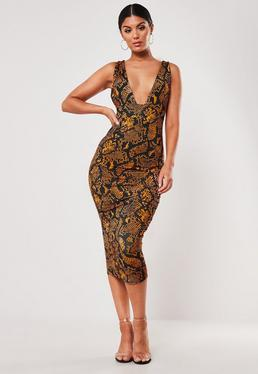 39e47a075 ... Orange Snake Print Slinky Cross Back Midi Dress