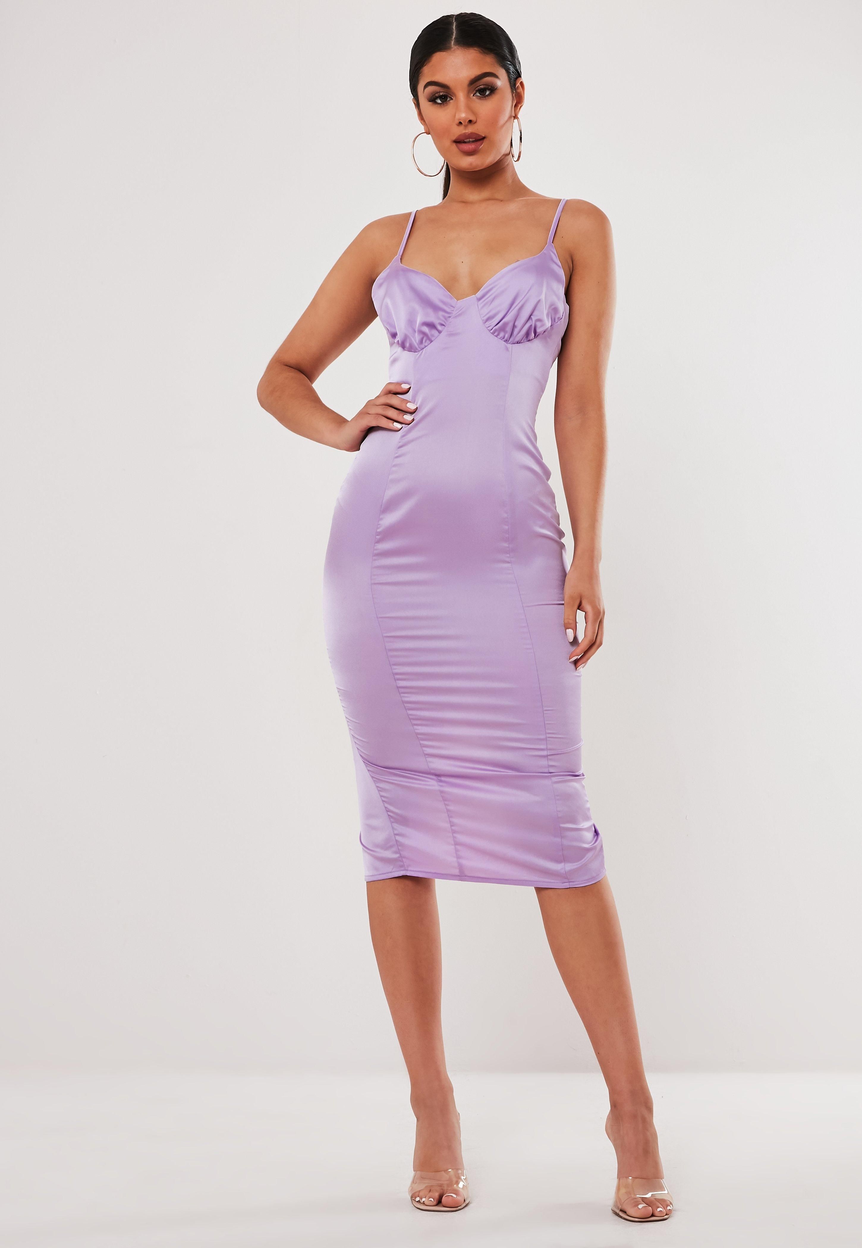 cheap for discount professional sale lower price with Stassie x Missguided Lilac Satin Ruched Cup Bodycon Midi Dress ...