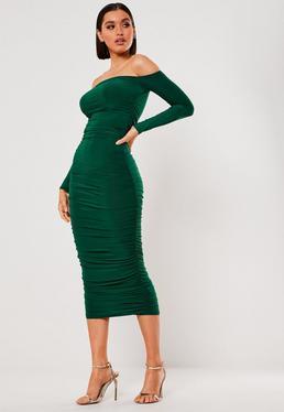 Темно-зеленое платье Bardot из обтягивающего облегающего мидакси с рюшами