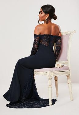 Темно-синее платье макси с длинными рукавами рыбий хвост невесты