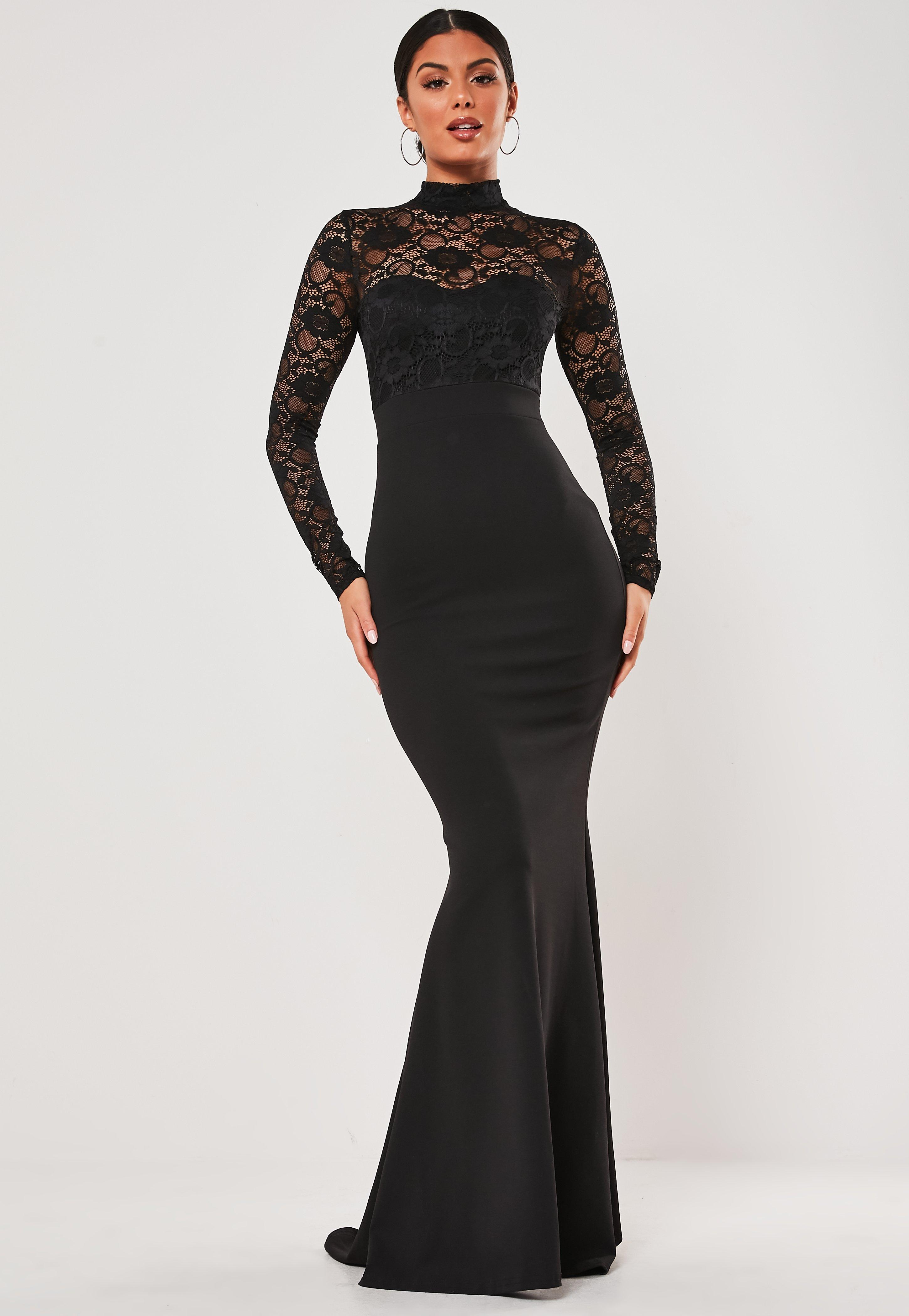 check out customers first discover latest trends Black Lace Long Sleeve Maxi Dress