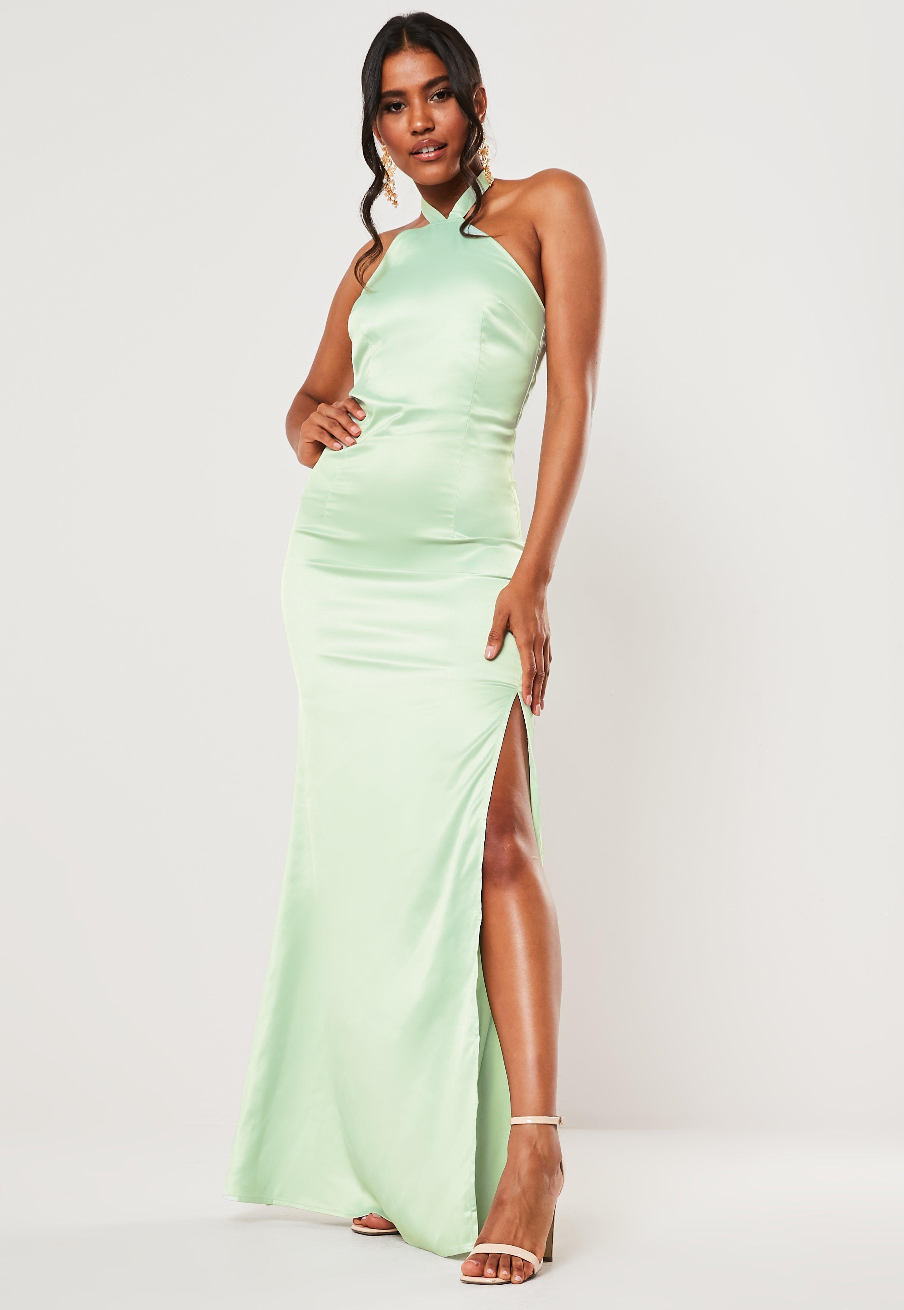 ea806e6385 Bridesmaid Mint Halterneck Deep Split Satin Maxi Dress