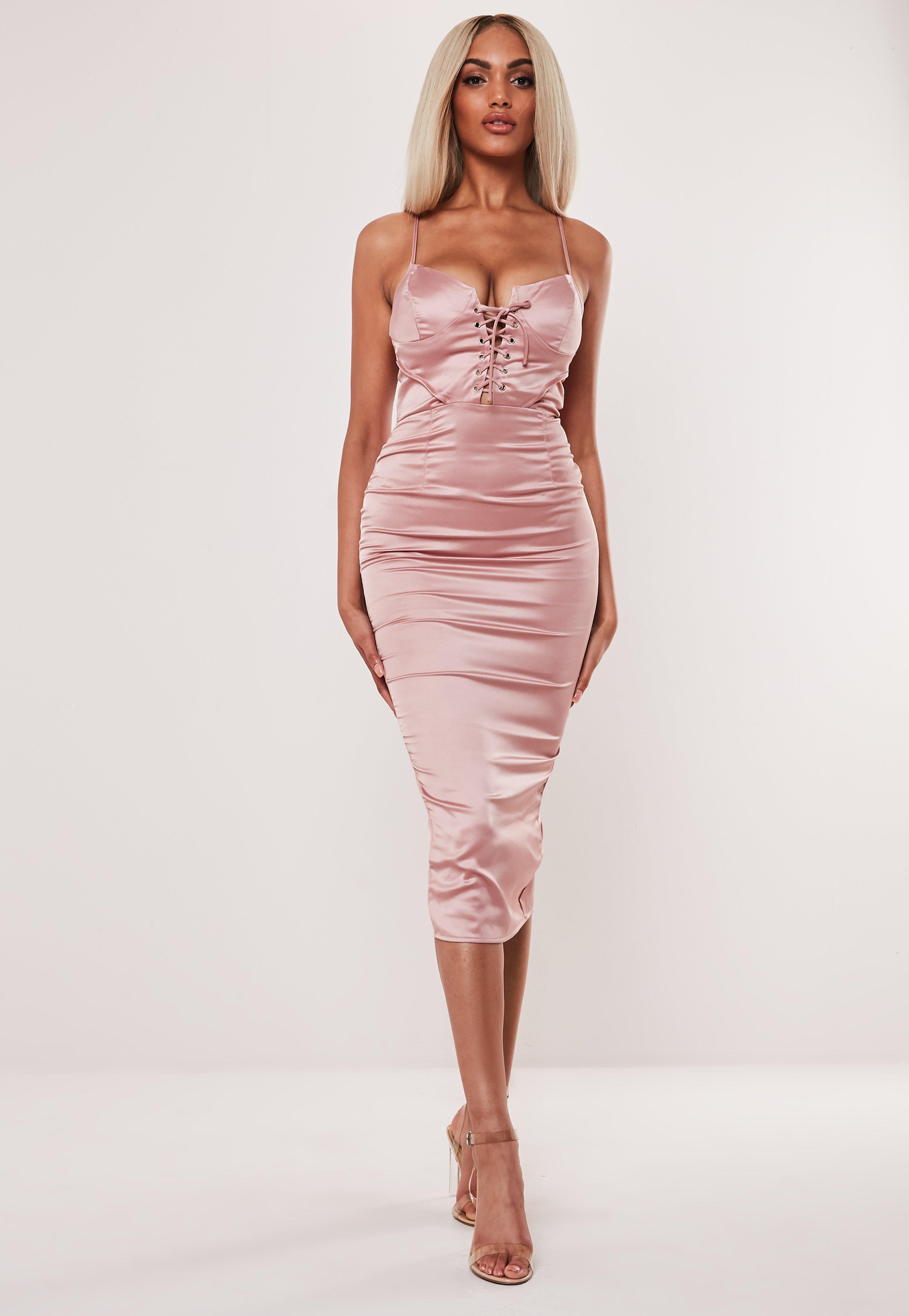 b5234fec132 Rose Satin Lace Up Bust Cup Midaxi Dress