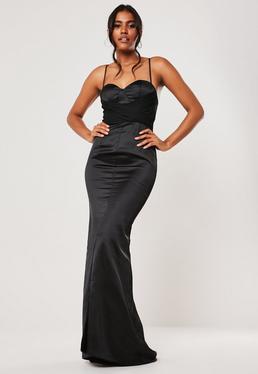 Черное шифоновое платье макси с запахом невесты