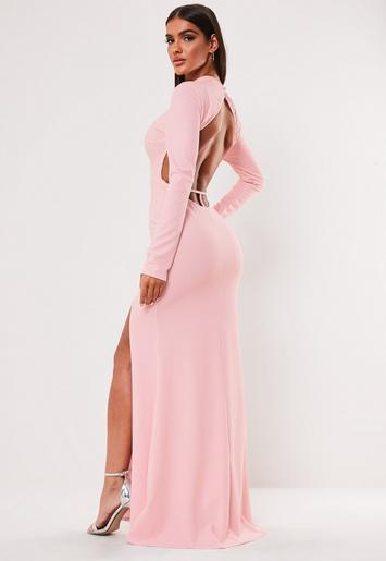 Blush High Neck Open Back Maxi Dress by Missguided