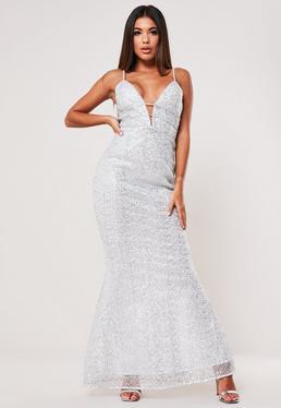 Silver Strappy Sequin Fishtail Maxi Dress