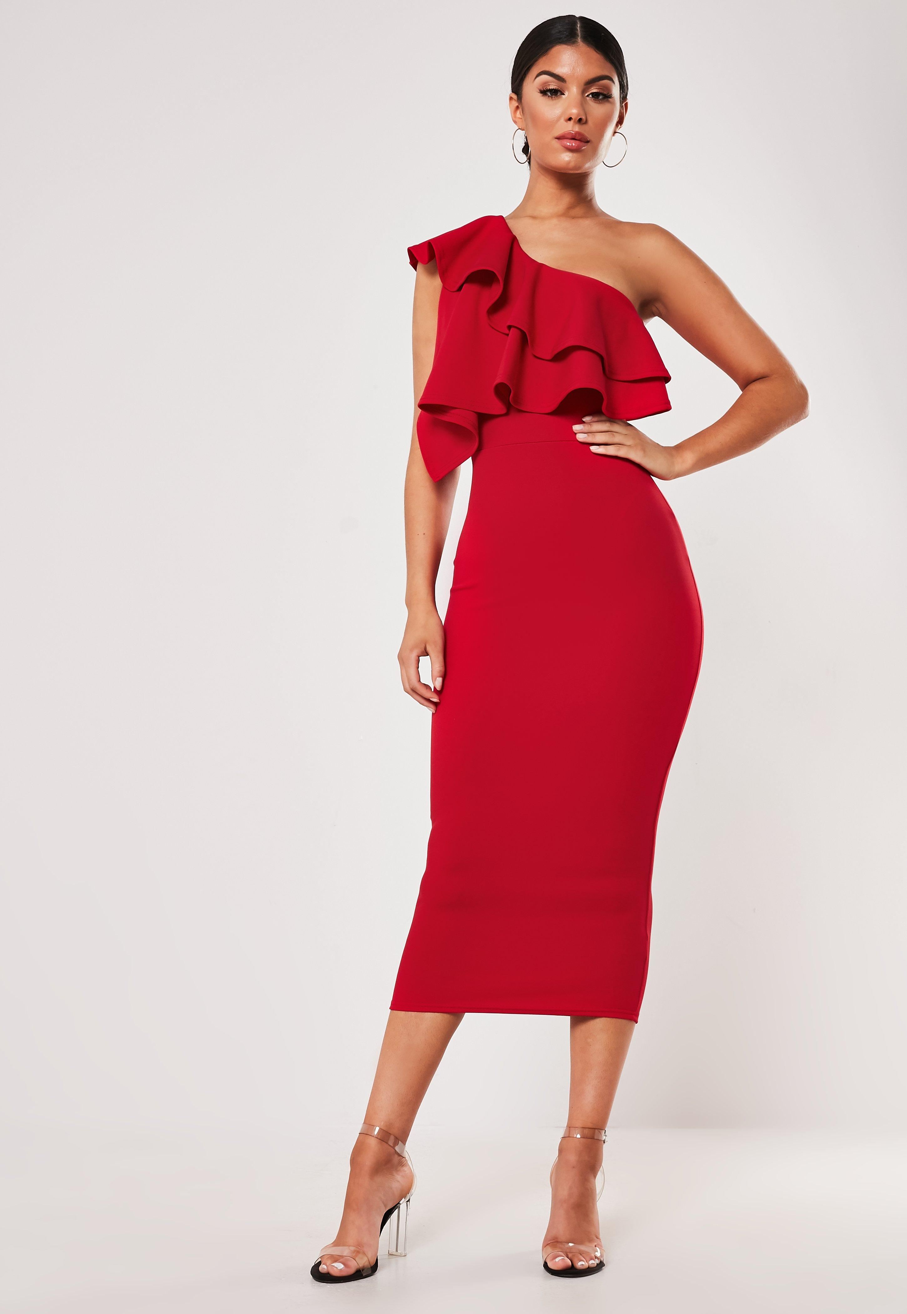 Red One Shoulder Ruffle Bodycon Midi Dress by Missguided