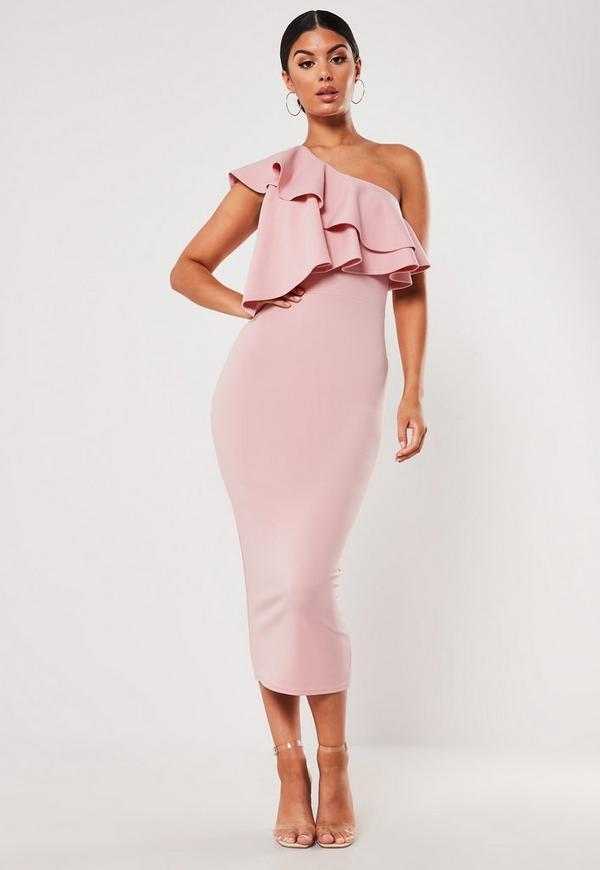 Blush One Shoulder Ruffle Bodycon Midi Dress Missguided
