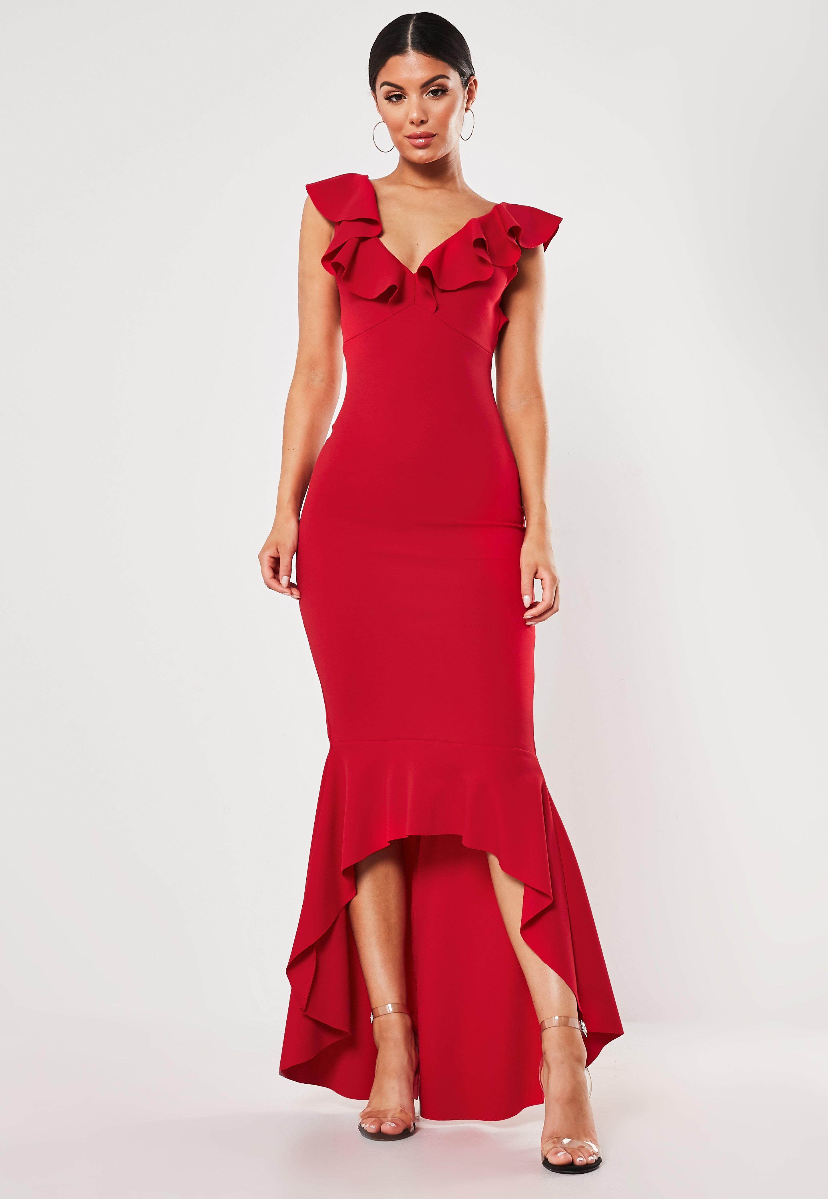 Vestido Midi Con Volantes En Rojo