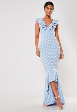 0a25a436312 ... Blue Polka Dot Frill Strap Fishtail Bodycon Midi Dress