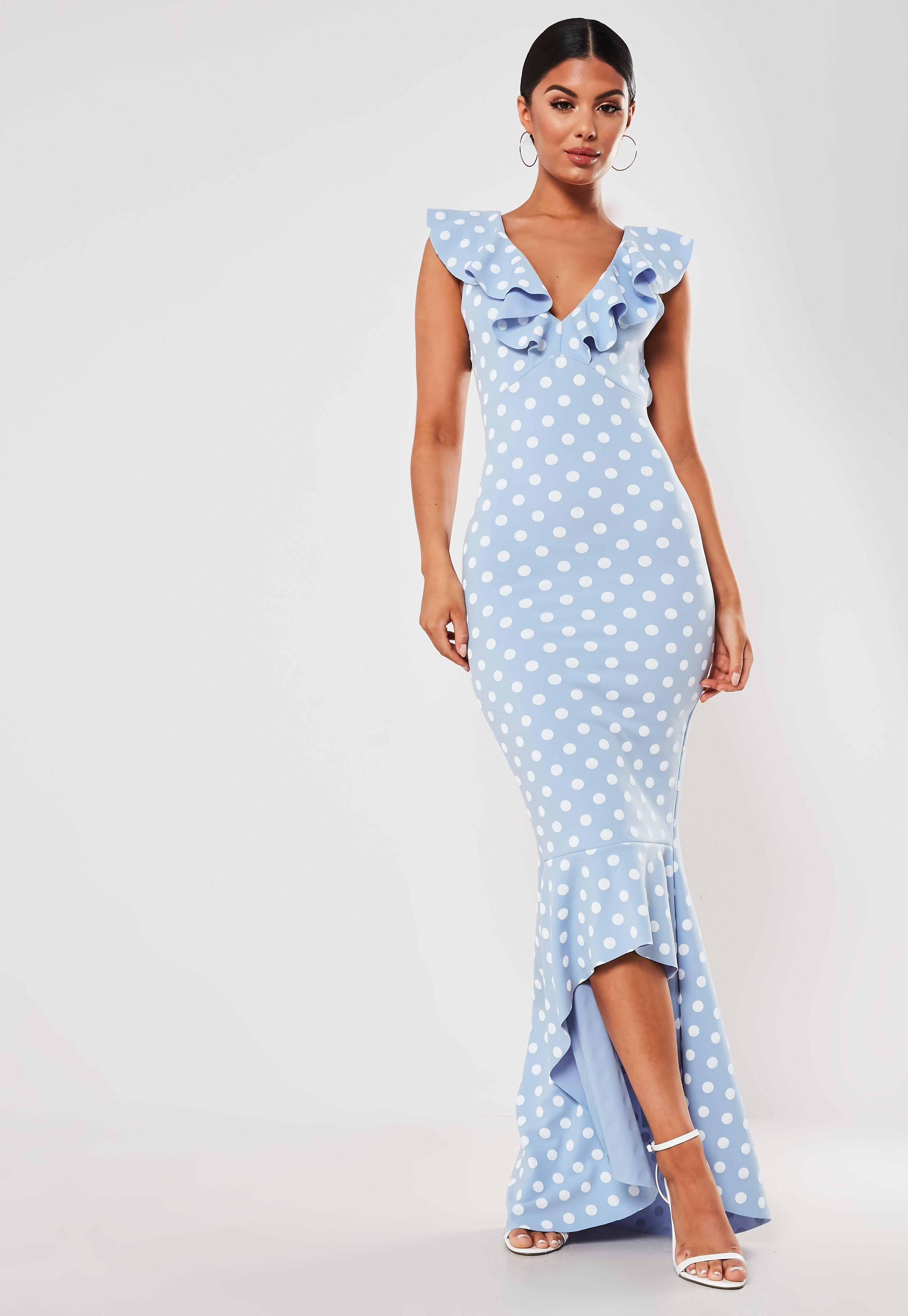 magasin en ligne 986a5 2ce8a Robe bleu clair à pois mi-longue à volants