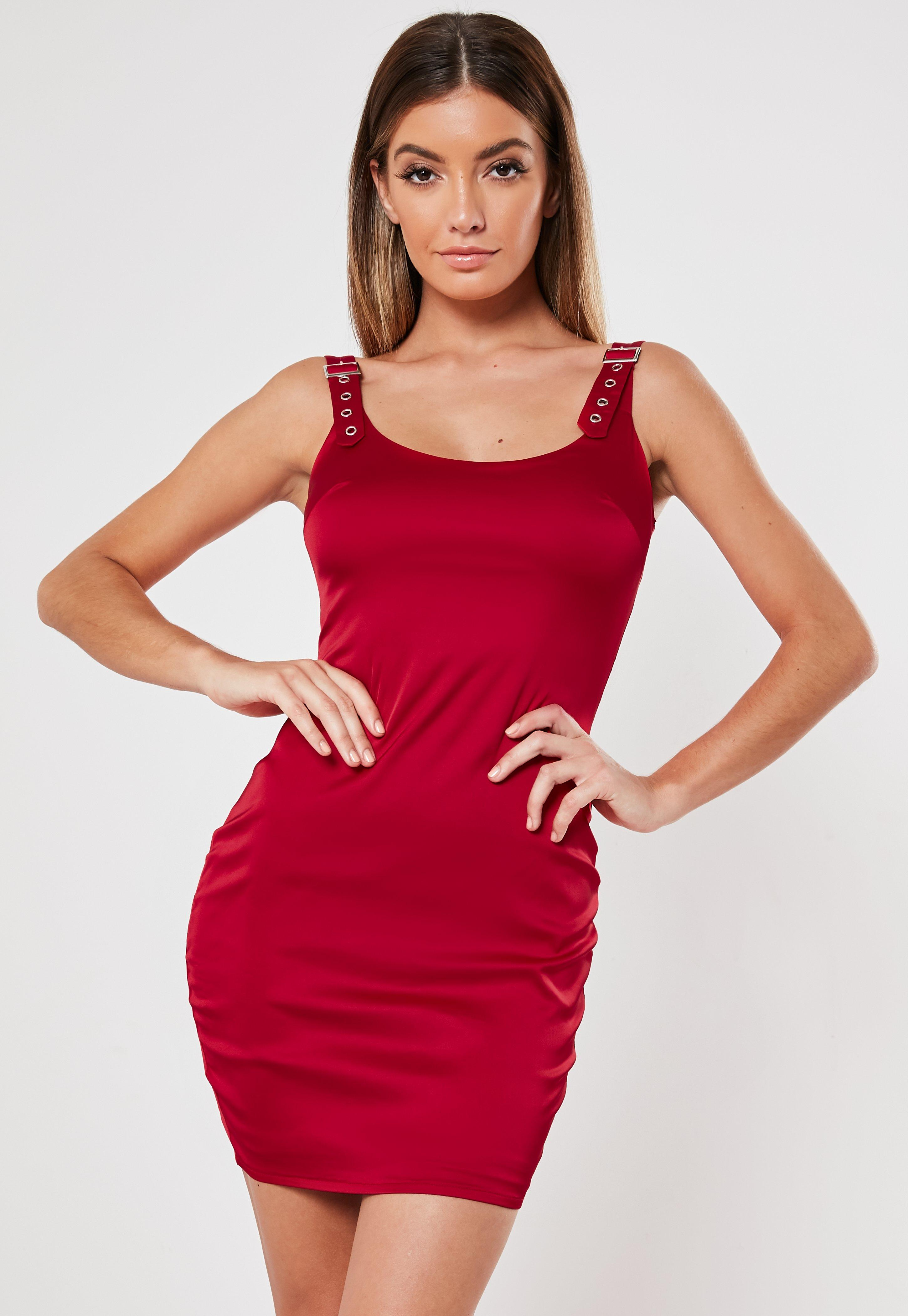 51c7c976af3928 Red Buckle Strap Satin Bodycon Mini Dress