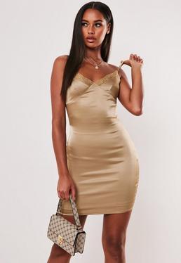 Обнаженное атласное кружевное мини-платье Cami Bodycon
