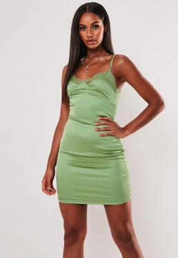 Зеленое атласное кружевное мини-платье Cami Bodycon