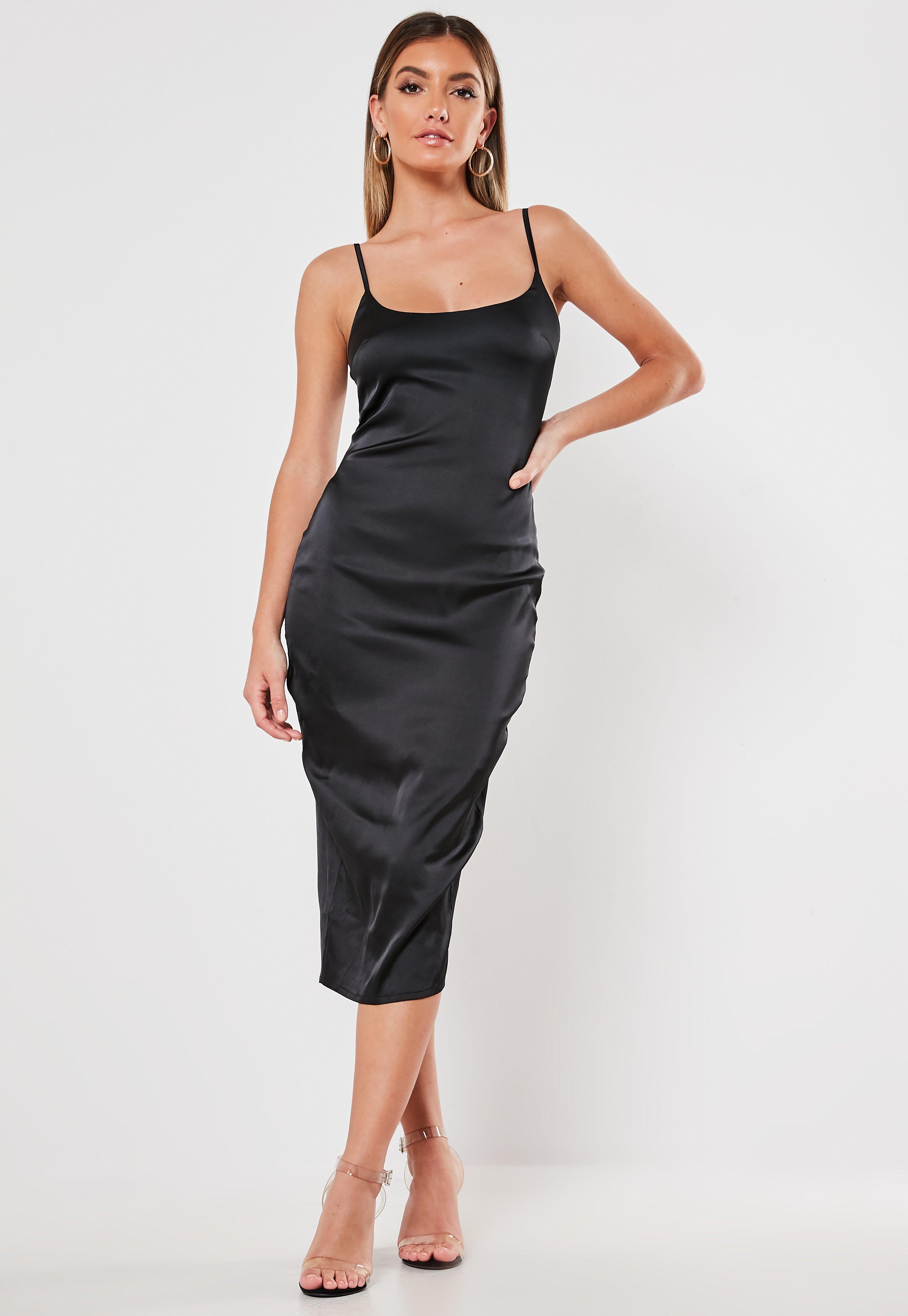dd002f74c736d Black Satin Cami Bodycon Midi Dress