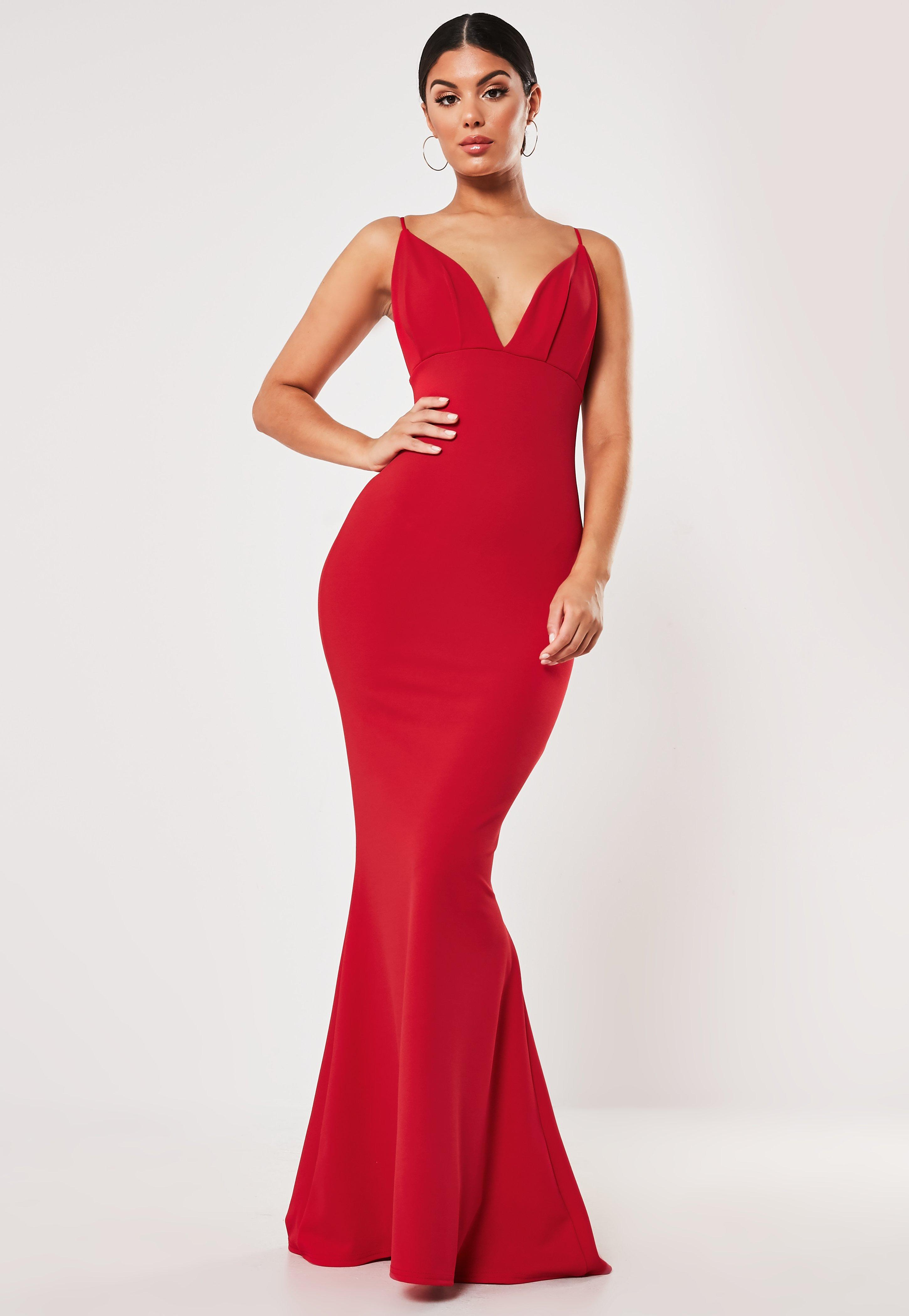 Red Pleated Bust Fishtail Maxi Dress