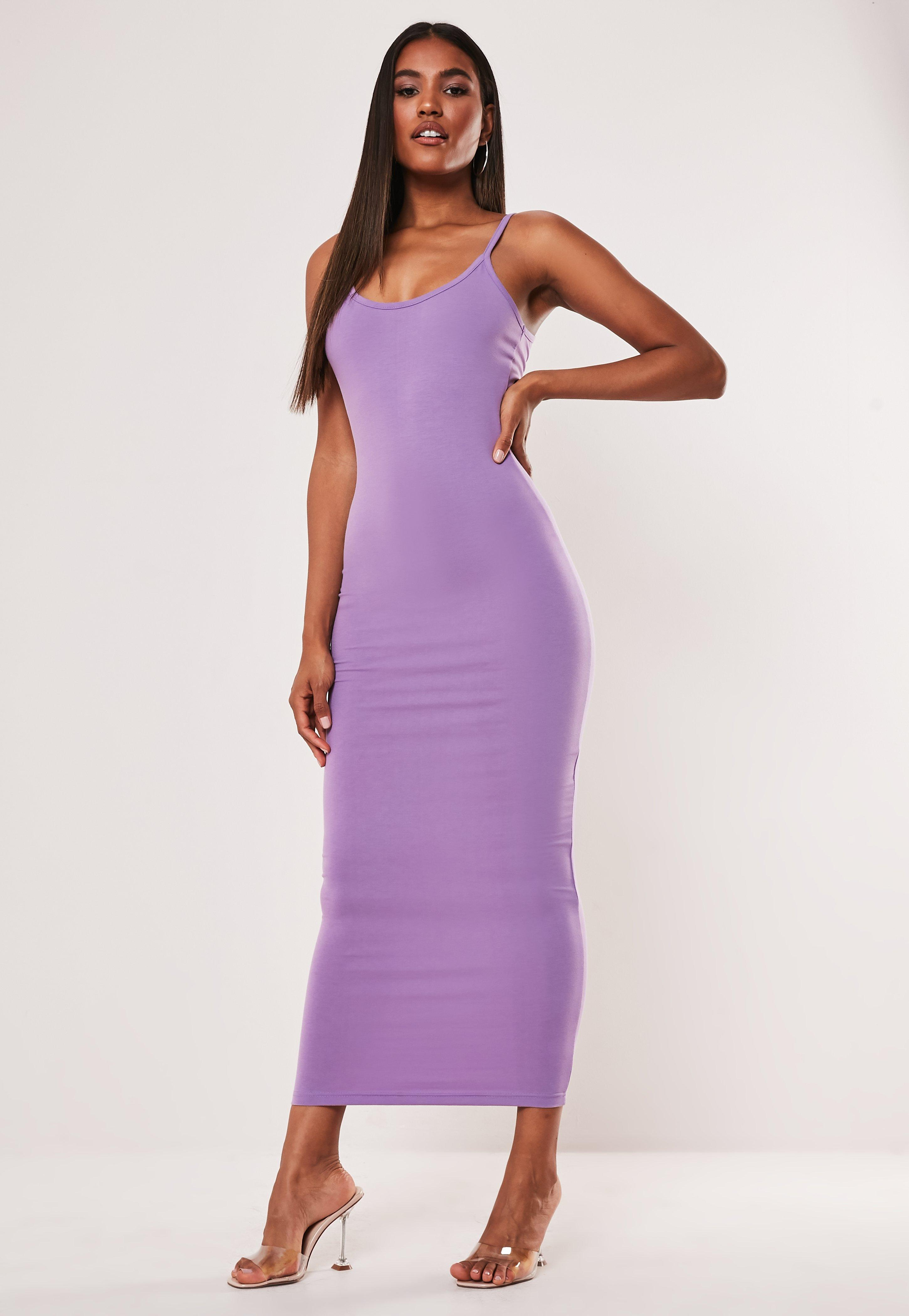 classic fit clearance prices undefeated x Purple Strappy Bodycon Midi Dress   Missguided